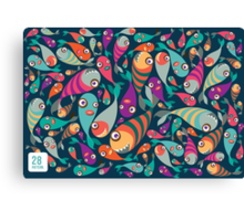 Beautiful collection of tropical fish pattern  Canvas Print