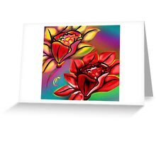 Caribbean Wedding Flowers Roses in Bright Vibrant Colors Greeting Card