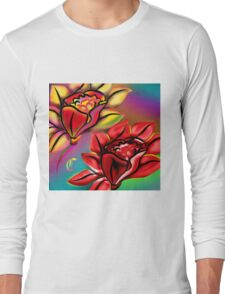 Caribbean Wedding Flowers Roses in Bright Vibrant Colors Long Sleeve T-Shirt