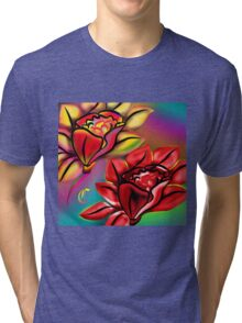 Caribbean Wedding Flowers Roses in Bright Vibrant Colors Tri-blend T-Shirt
