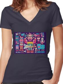 vector band and musicians  Women's Fitted V-Neck T-Shirt