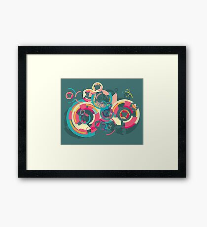 Vector colorful broken circle pattern Framed Print