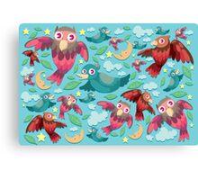 Colorful fun birds pattern  Canvas Print