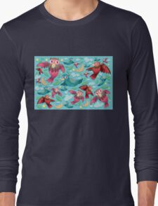 Colorful fun birds pattern  Long Sleeve T-Shirt