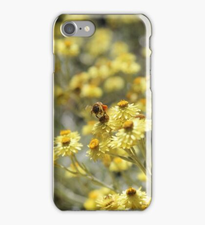 Bee In Flight - Yellow Flowers iPhone Case/Skin