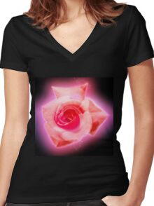 Digitally enhanced orange rose flower with green foliage background  Women's Fitted V-Neck T-Shirt