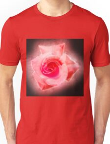 Digitally enhanced orange rose flower with green foliage background  Unisex T-Shirt