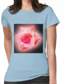 Digitally enhanced orange rose flower with green foliage background  Womens Fitted T-Shirt