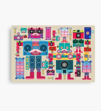 vintage robot and camera composition Canvas Print