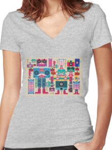 vintage robot and camera composition Women's Fitted V-Neck T-Shirt