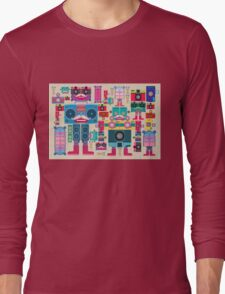 vintage robot and camera composition Long Sleeve T-Shirt