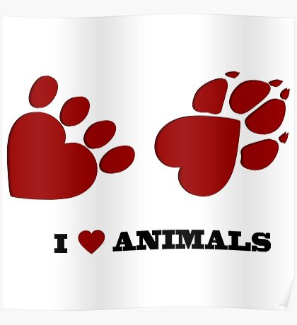 Animal love paw prints Poster