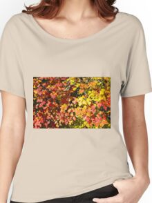 Background of bright red maple leaves Women's Relaxed Fit T-Shirt
