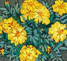 Yellow marigolds  by kira-culufin