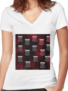 Corset pattern Women's Fitted V-Neck T-Shirt