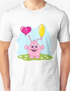 Cute pink monster loves you T-Shirt