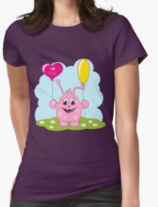 Cute pink monster loves you Womens Fitted T-Shirt