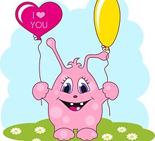Cute pink monster loves you by NonikaStar