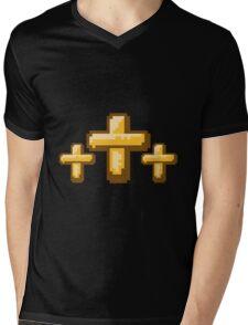 3 kreuze cool pixel gamer retro 8 bit muster christ logo design schriftzug jesus christus  Mens V-Neck T-Shirt