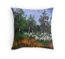 Birches around a lake Throw Pillow