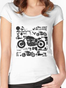 vintage motorbike cafe racer Women's Fitted Scoop T-Shirt