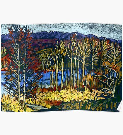 Autumn landscape in Deer Lake park Poster