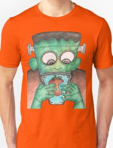 Frankenstein's Monster Learning How To Use Modern Tech Unisex T-Shirt