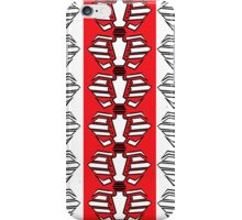 Rib-bellion Pattern (Black and White w/ Red Stripe) iPhone Case/Skin