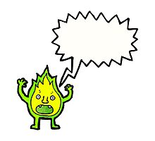 cartoon green fire creature with speech bubble Photographic Print