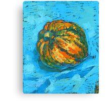 Squash on a blue tablecloth Canvas Print