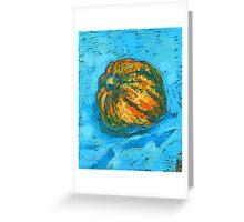 Squash on a blue tablecloth Greeting Card
