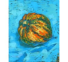 Squash on a blue tablecloth Photographic Print