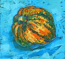 Squash on a blue tablecloth by kira-culufin