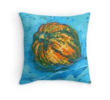 Squash on a blue tablecloth Throw Pillow
