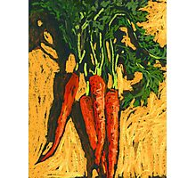 Red carrots on yellow table Photographic Print