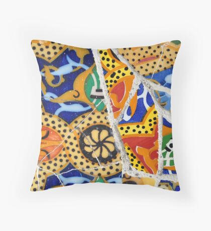 Tile mosaic wall in park city  Throw Pillow