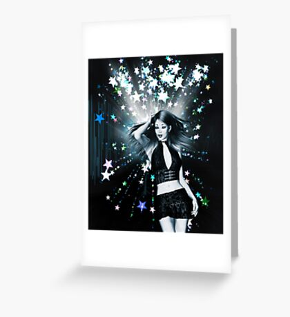 Dancing girl on stars background Greeting Card