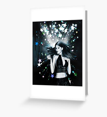 Dancing girl on stars background 2 Greeting Card