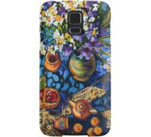 Still life with flowers, pots on a blue tablecloth Samsung Galaxy Case/Skin
