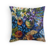 Still life with flowers, pots on a blue tablecloth Throw Pillow