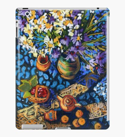 Still life with flowers, pots on a blue tablecloth iPad Case/Skin