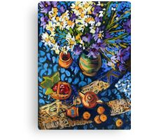 Still life with flowers, pots on a blue tablecloth Canvas Print