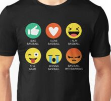 I Love Baseball Emoji Emoticon  Unisex T-Shirt