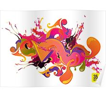 artistic Background of paint vibrant colors Poster