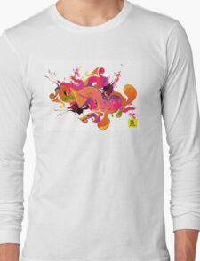 artistic Background of paint vibrant colors Long Sleeve T-Shirt