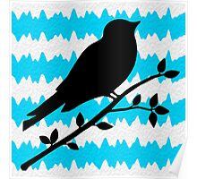 Bird Teal and White Stripes Poster