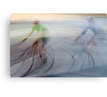 Cyclists, blurry Canvas Print
