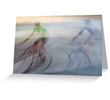 Cyclists, blurry Greeting Card