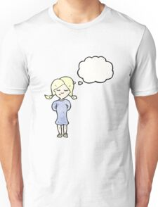 cartoon blond girl thinking Unisex T-Shirt