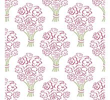Rose bouquet seamless pattern. Hand drawn  background. Flower sketch wallpaper. Photographic Print